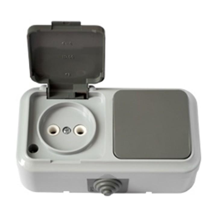 Выключатель 1-й и розетка IP54 В-РЦ-653 (серый) Пралеска